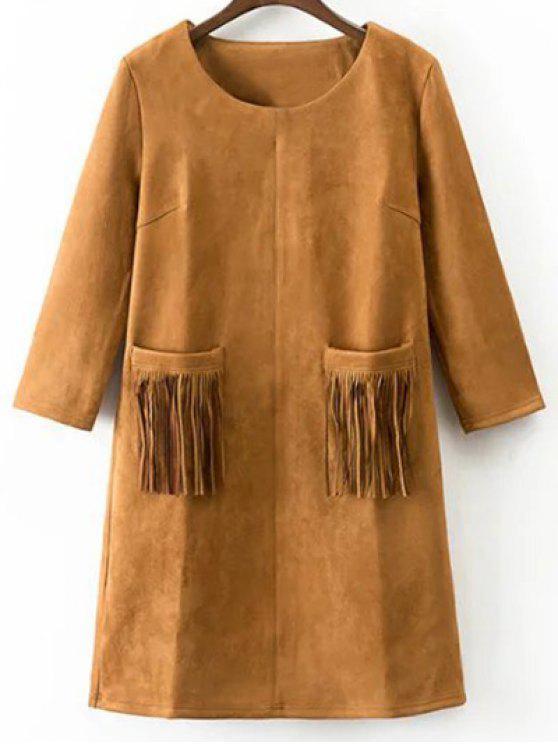Robe en suédine synthétique avec poches frangées - Terreux S