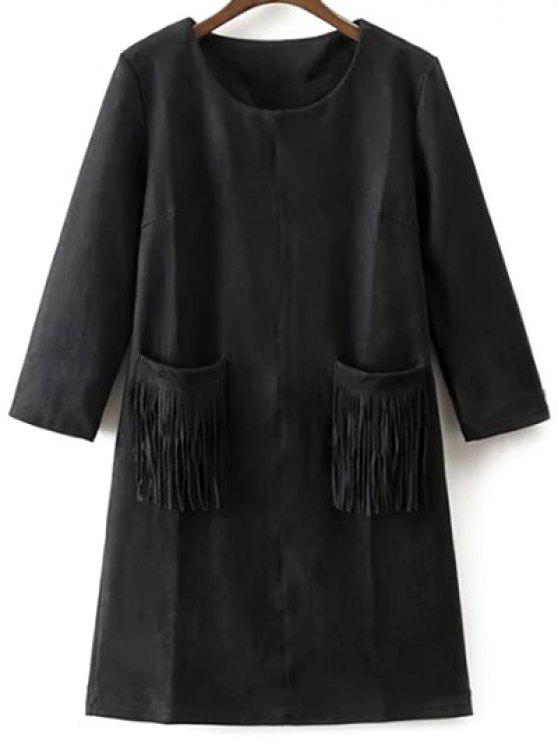 chic Fringed Pockets Faux Suede Dress - BLACK S