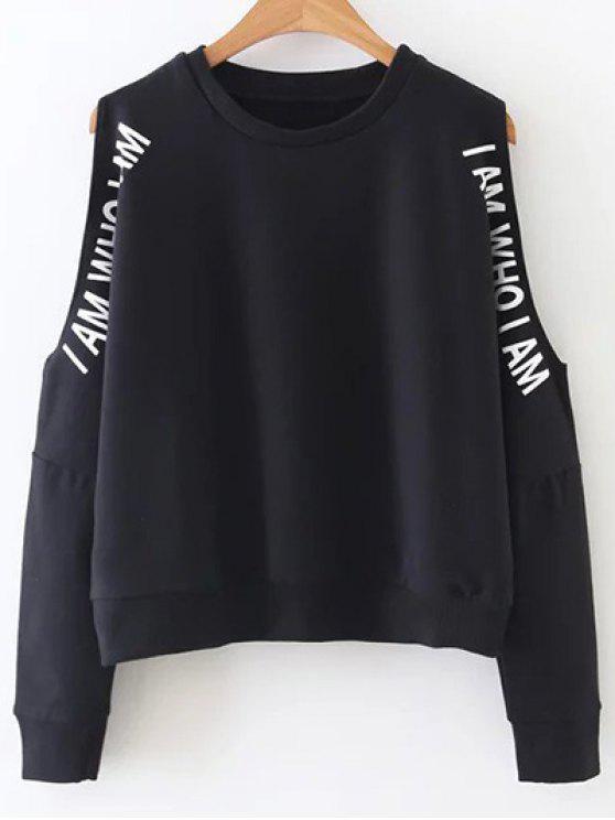 lady Cold Shoulder Text Print Sweatshirt - BLACK L