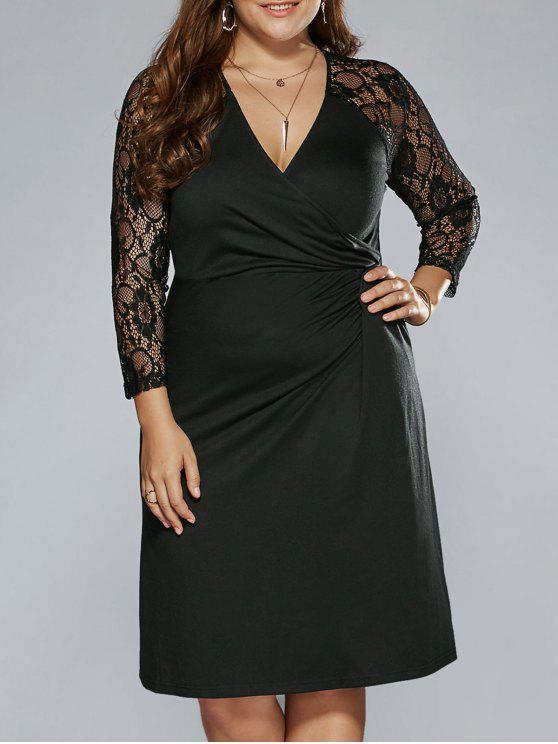 Plus Size Sheer Sleeves Surplice Dress BLACK