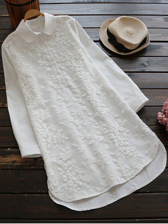 Chemisier brodé boutonné col chemise - Blanc L