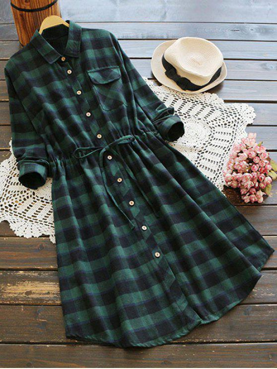 sale Drawstring Design Plaid Shirt Dress - BLACK AND GREEN ONE SIZE