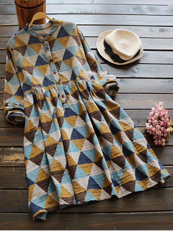 affordable Geometric Print Long Sleeves Checked Shirt Dress - COLORMIX ONE SIZE