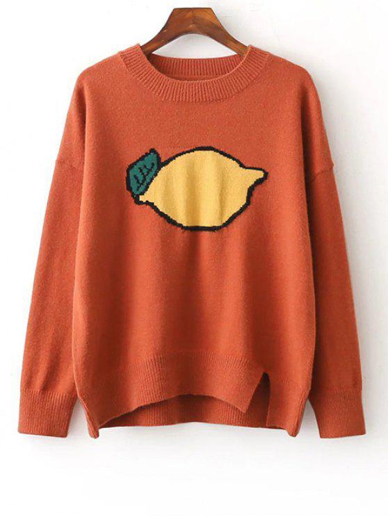Jacquard Pull à col rond orné de motif de fruit avec fentes latérales - Tangerine TAILLE MOYENNE