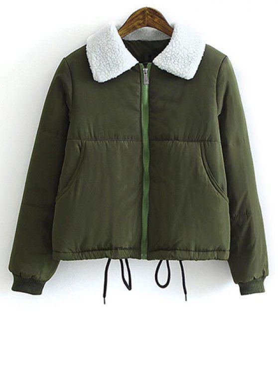 Cappotto imbottito con colletto in lana di agnello - Verde Dell'esercito S