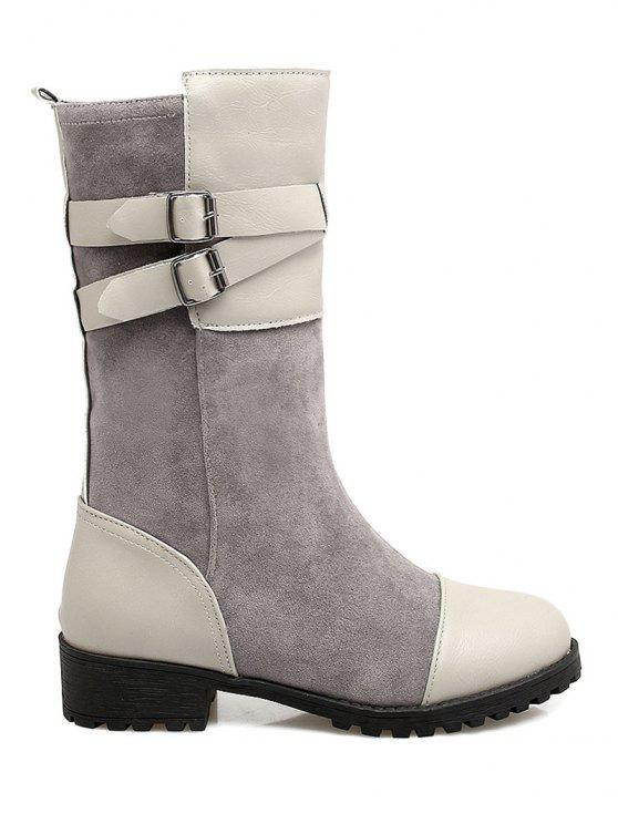 fashion Cross Straps Double Buckle Mid-Calf Boots - LIGHT GRAY 39