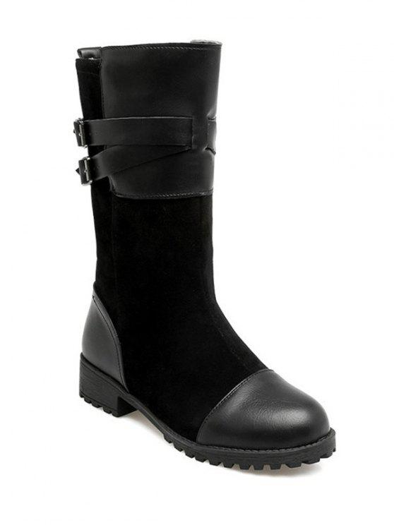 unique Cross Straps Double Buckle Mid-Calf Boots - BLACK 39