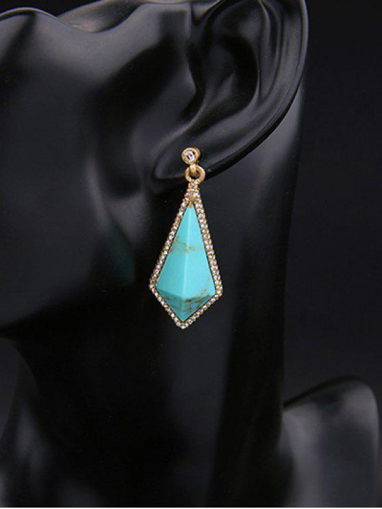 sale Geometric Vintage Rhinestone Drop Earrings - TURQUOISE GREEN