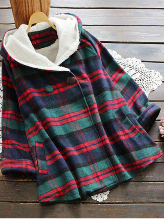 latest Hooded Checked Swing Coat - COLORMIX ONE SIZE