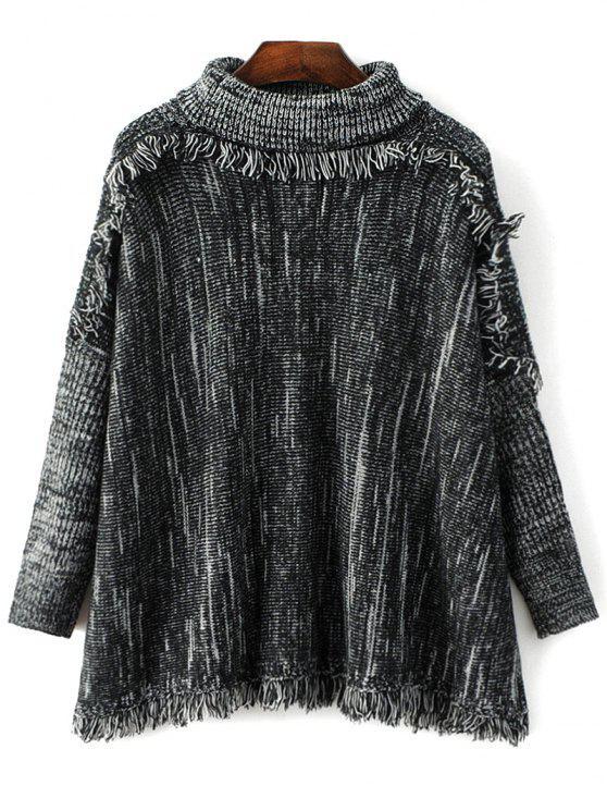 Espacio teñido suéter de cuello de tortuga de la borla - negro Gris Única Talla