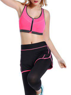 Push Up Front Zipper Sporty Bra - Rose Red S