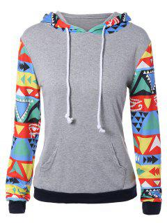 Colorful Geometric Print Pocket Embellished String Hoodie - L