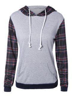 Plaid Pocket Embellished String Hoodie - L
