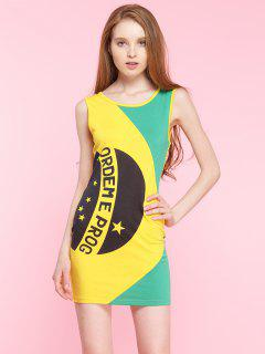 Tank Dress Block Letter Couleur - Jaune M
