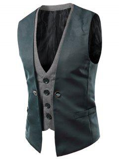 Faux Twinset V-Neck Single Breasted Color Block Sleeveless Waistcoat For Men - Blackish Green M