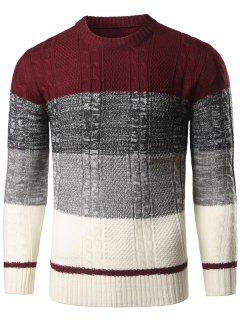 Color Block Twist Striped Sweater - Wine Red M