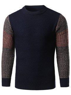 Color Block Splicing Langarm Crew Neck Sweater - Cadetblue M