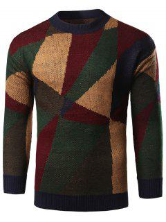 Geometric Print Color Block Knitted Sweater - Green M