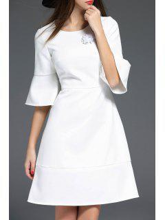 Cloche à Manches Perlée Robe - Blanc S