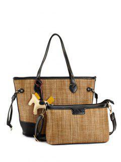 Pendant Straw Weaving Shoulder Bag - Coffee