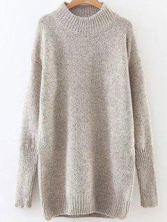 Long High Neck Sweater - Champagne