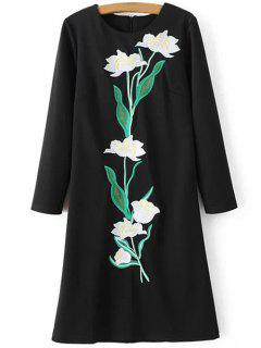 Floral Embroidery Sheath Dress - Black S