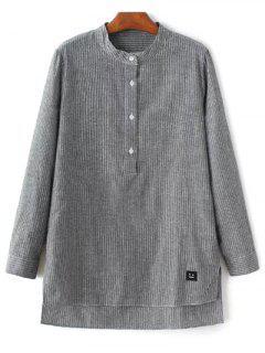 Slit-Streifen-High-Low-Hemd - Grau S