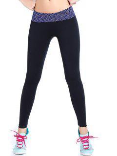 Stretchy Space Dyed Yoga Leggings - Purplish Blue M