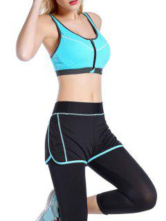 Push Up Front Zipper Sporty Bra - Azure M