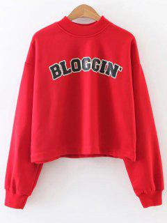 Mock Neck Graphic Cropped Sweatshirt - Red S