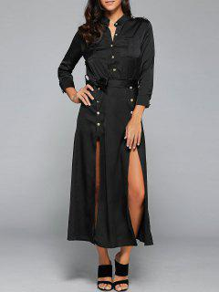Double Slit Trench Military Dress - Black S