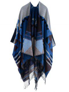 Travel Geometry Pattan Tassel Pashmina Poncho - Purplish Blue