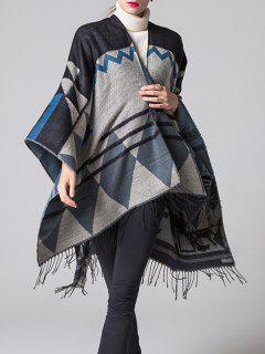 Travel Geometry Pattan Tassel Pashmina Poncho - Black