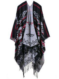 Travel Warmer Geometry Tassel Pashmina Poncho - Black