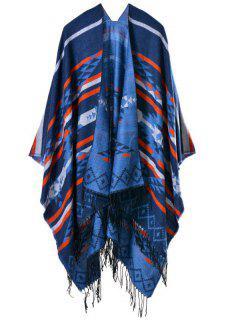 Travel Warmer Geometry Tassel Pashmina Poncho - Deep Blue