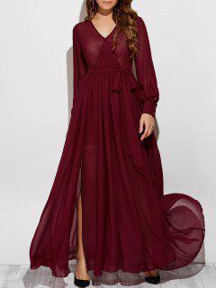 See-Through Slit V Neck Long Sleeve Maxi Dress - Wine Red 2xl
