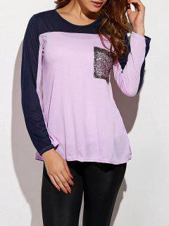 Color Block Sequined T-Shirt - Light Purple M