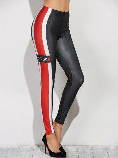 Side Striped PU Leather Leggings - Black