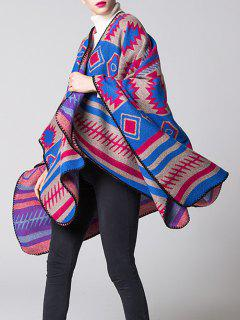 Soft Warm Geometry Splicing Pashmina Poncho - Blue And Red