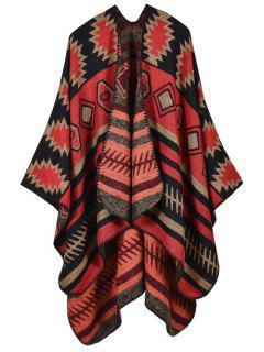 Soft Warm Geometry Splicing Pashmina Poncho - Red
