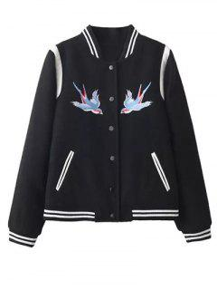 Snap Button Embroidered Baseball Jacket - Black S