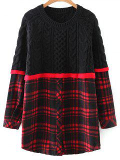 Checked Cable Knit Sweater - Red With Black