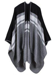 Warm Stripe Splicing Print Double Side Scarf Pashmina - Black