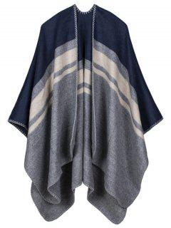 Warm Stripe Splicing Print Double Side Scarf Pashmina - Cadetblue