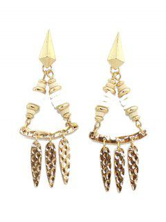 Hammered Drop Earrings - White