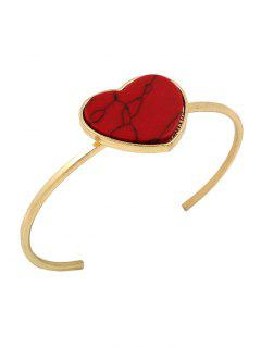 Artificial Gemstone Heart Cuff Bracelet - Red