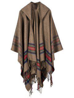 Stripe Printed Tassel Hooded Pashmina Poncho - Camel