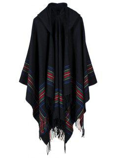 Stripe Printed Tassel Hooded Pashmina Poncho - Black