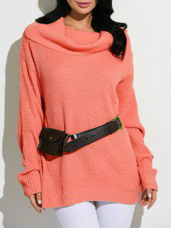 Cowl Neck Chunky Knit Sweater - Jacinth