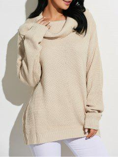 Cowl Neck Chunky Knit Sweater - Beige